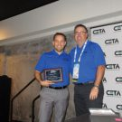 Aaron Auger recognizes Aaron Lindholm as he completes his term on the CETA board.